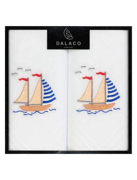 Set de 2 mouchoirs brodés. Le voilier Cravate Avenue Signature Pochettes
