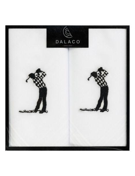 Set de 2 mouchoirs brodés. Golfeur swing Cravate Avenue Signature Pochettes