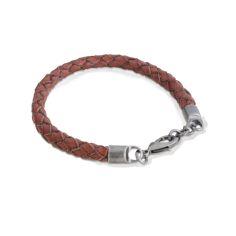 Bracelet en cuir, tressé, marron, Palerme