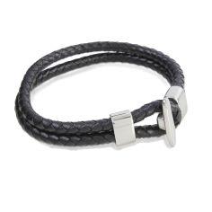 Bracelet en cuir, tressé double, brun, Como