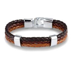 Bracelet tressé, trio, Noir, marron et brun