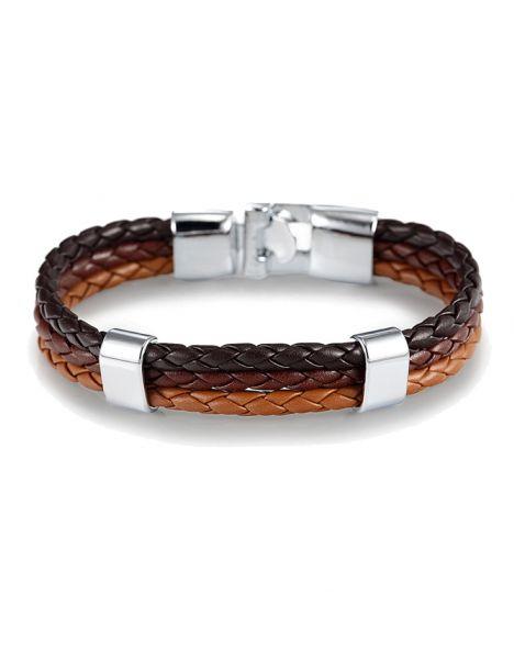 Bracelet tressé, trio, Noir, marron et brun Clj Charles Le Jeune Bracelets Homme
