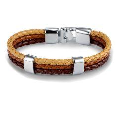 Bracelet tressé, trio, sable, marron et brun