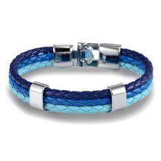 Bracelet tressé, trio, bleu