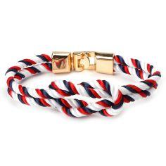 Bracelet corde, noeud marin, navy rouge blanc