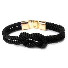 Bracelet corde, noeud marin, noir