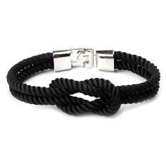Bracelet corde, noeud marin, noir Clj Charles Le Jeune Bracelets Homme