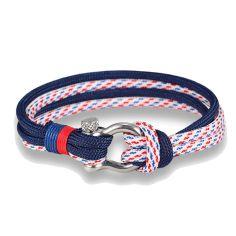 Bracelet fermoir manille lyre, marine rouge et blanc Clj Charles Le Jeune Bracelets Homme