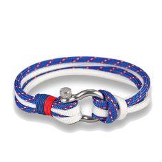 Bracelet fermoir manille lyre, bleu blason et blanc