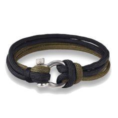 Bracelet fermoir manille lyre, noir et kaki Clj Charles Le Jeune Bracelets Homme