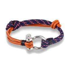Bracelet fermoir manille lyre, marron et marine