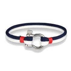 Bracelet fermoir manille lyre, bleu blanc