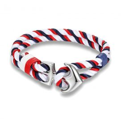 Bracelet ancre nautique, bleu blanc rouge