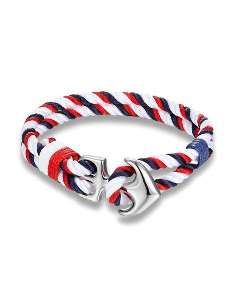 Bracelet ancre nautique, bleu blanc rouge Clj Charles Le Jeune Bracelets Homme