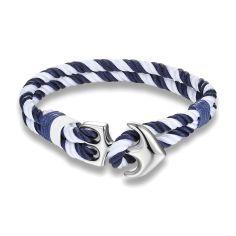 Bracelet ancre nautique, marine et blanc