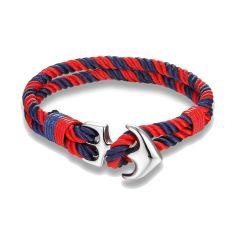 Bracelet ancre nautique,rouge et bleu