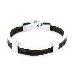 Bracelet tressé, trio, noir et blanc Clj Charles Le Jeune Bracelets Homme