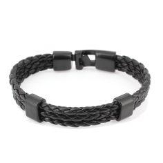 Bracelet tressé, trio, noir Clj Charles Le Jeune Bracelets Homme