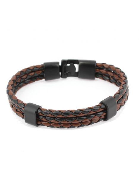 Bracelet tressé, trio, noir et brun Clj Charles Le Jeune Bracelets Homme