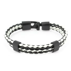 Bracelet tressé, trio, black and white Clj Charles Le Jeune Bracelets Homme