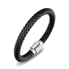Bracelet simili cuir tressé fermoir aimanté