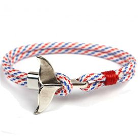 Bracelet nautique blanc mutli, queue de baleine