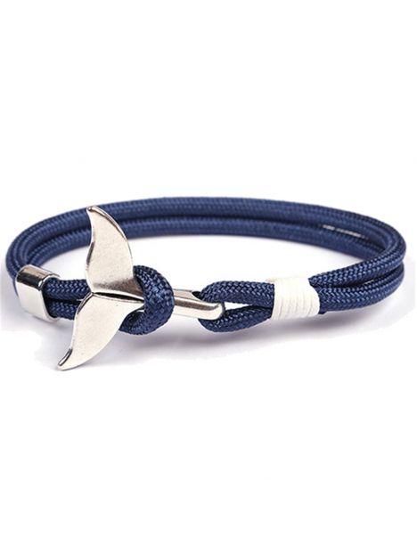 Bracelet nautique bleu marine, queue de baleine Clj Charles Le Jeune Bracelets Homme