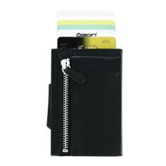 Porte carte Aluminium et cuir, Cascade Zipper Wallet, Ogon Designs, Noir Ogon Designs Petite Maroquinerie