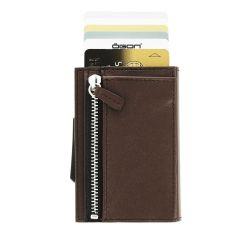 Porte carte Aluminium et cuir, Cascade Zipper Wallet, Ogon Designs, Marron foncé Ogon Designs Petite Maroquinerie