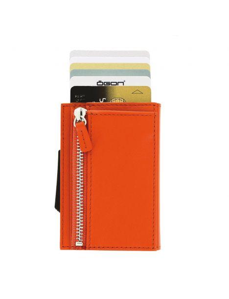 Porte carte Aluminium et cuir, Cascade Zipper Wallet, Ogon Designs, Orange Ogon Designs Petite Maroquinerie