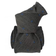 Cravate en laine et soie, Catane Gris pois bleu
