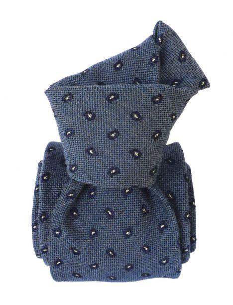 Cravate en laine et soie, Sardaigne Deux Bleu Segni et Disegni Cravates