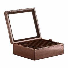 Coffret rangement boutons de manchette et bijoux Gregor ring, cuir de buffle tan