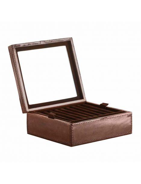 Coffret rangement boutons de manchette et bijoux Gregor ring, cuir de buffle tan Balmuir Ecrins