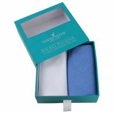 Pochette- Mouchoir brod' - Set de 2- bleu blanc