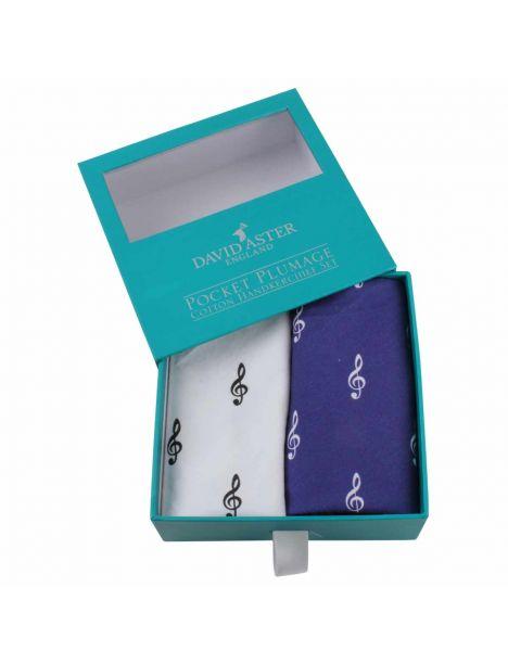 Set de 2 mouchoirs brodés. cle de sol blanc bleu Cravate Avenue Signature Pochettes