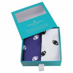 Set de 2 mouchoirs brodés. rugby blanc bleu