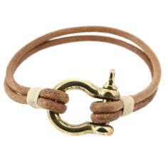 Bracelet Ecoutille, simili cuir nautique fermoir manille lyre