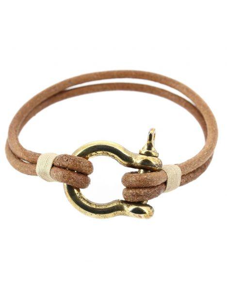 Bracelet Ecoutille, simili cuir nautique fermoir manille lyre Clj Charles Le Jeune Bracelets Homme
