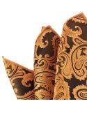 Pochette orange cuivre compagnie des indes Paisley coton