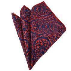 Pochette rouge et bleu compagnie des indes Paisley