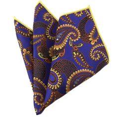 Pochette bleu et jaune compagnie des indes Paisley
