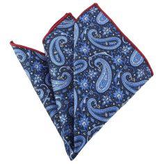 Pochette bleu d'iran compagnie des indes Paisley