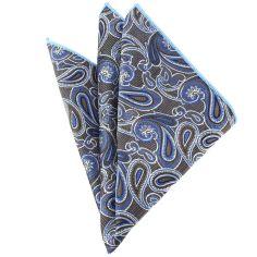 Pochette marron et bleu compagnie des indes Paisley