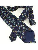 Cravate en soie, Abeilles, marine Brochier Soieries 1890 Cravates
