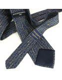 Cravate en soie, Hiéroglyphes Egyptiens, marine Brochier Soieries 1890 Cravates