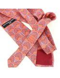 Cravate en soie, Lotus et Papyrus, rouge Brochier Soieries 1890 Cravates