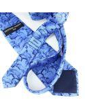 Cravate en soie, Préhistoire, bleu Brochier Soieries 1890 Cravates