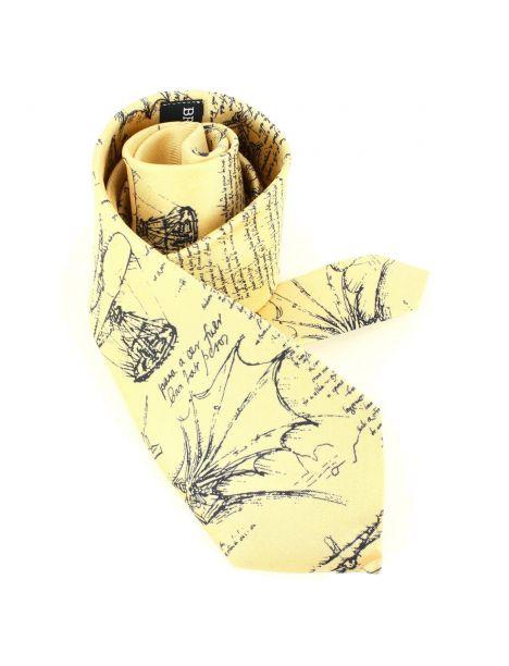 Cravate en soie, Léonard de Vinci Codex, beige Brochier Soieries 1890 Cravates