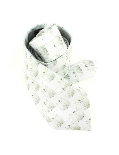 Cravate en soie, Léonard de Vinci L'Homme de Vitruve, gris Brochier Soieries 1890 Cravates